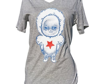 "T-shirt cotton bio screenprint ""Little Warrior"", Grey Heather, S, Stanley and Stella, illustrated by Clarisse Placard"