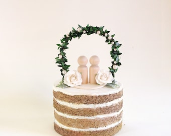 Woodland Pearl Topper, Botanical floral wedding, Simple cake top, wedding cake topper, bride and groom, Flower cake topper, Wooden people