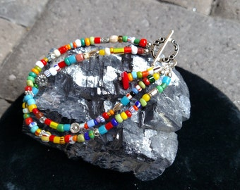 African Christmas Bead and Sterling Silver Bracelet