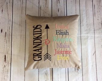 Personalized Grandkids Pillow Gift For Grandparents Grandma Grandpa Pillow Grandchildren Names