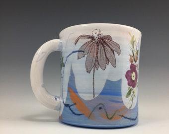 Cone Flowers!!! On a blue & white mug!