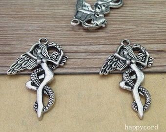 10pcs Antique silver girl with snake Pendant charm 27mmx41mm