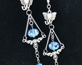 Elephant drop earrings with smokey  blue crystals