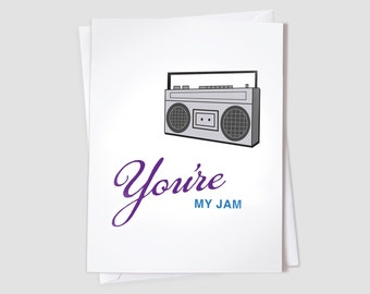 You're My Jam - boombox card - I like you card - I love you card - Thinking of you card