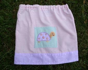 Toddlers Turtle Skirt, Handmade Skirt, Purple Turtle, Unique Clothing, Polka Dots, Pink Purple Skirt, Elastic Waist, Spring Skirt,Cute Skirt