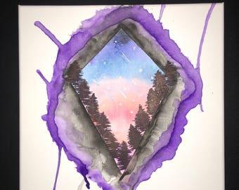 Night Sky Scene - Watercolor