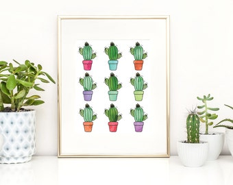 Printable Wall Art Watercolor Cacti Wall Art Printable Wall Decor