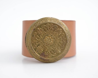Boho Leather Cuff + Vintage Locket - Hand-dyed Blush -  Boho Chic, Vintage, Jewelry, Bracelet, Women, Made in The South, Handcrafted, Photo