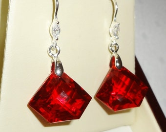 30 cts Natural Fancy Red Topaz gemstones, solid Sterling Silver pierced earrings