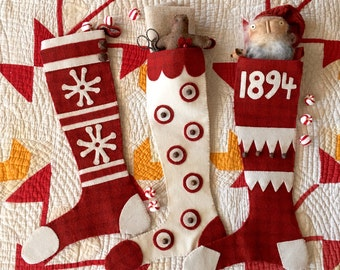 Wool Applique Primitive Snowflakes and Peppermints Pattern