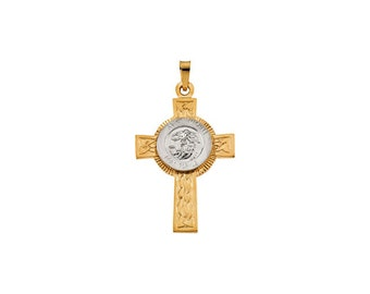 Sterling silver st michael cross pendant with 24 chain 14k solid gold st michael cross pendant 14k white and yellow gold police aloadofball Gallery