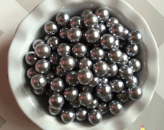 20mm Shiny Silver Chunky Beads Bubble Gum Pearls (A62)