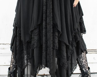 WITCHY BLACK LAYERED sheer mesh and lace maxi skirt