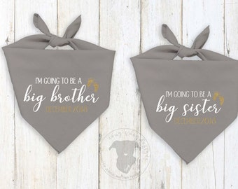 Gray Dog Bandana Pregnancy Announcement with or without Custom Glitter Gold Due Date