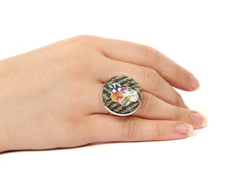 Greean and Brown Harris Tweed Button Ring, Upcycled Fabrics, Fabric Button Ring,  Adjustable silver plated ring