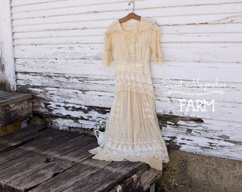 Antique Early 1900's Net Lace Dress