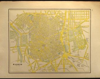 Vintage madrid map Etsy