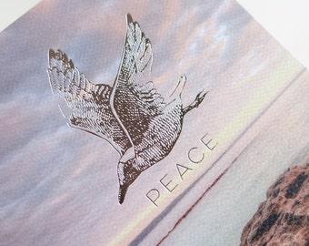 In sympathy card, Peace, beach, gull, spiritual, Large greeting card Silver foil letterpress, natural, serenity, Australian coastline