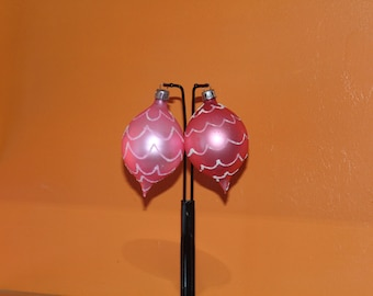 1980 vintage Christmas set of two ornament blown glass and hand painted sold at Kaufman's