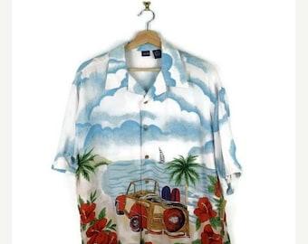 ON SALE Men's Rayon Hawaiian Shirt from 90's/Hawaiian Shirt/Blue/White