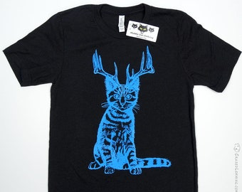 Catalope Cat with Antlers Tshirt Fashion Graphic Tee Shirt