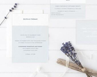 OLIVIA Wedding Suite - DEPOSIT - Wedding Invitation, Simple Wedding Invitation, Modern Wedding Invitations, Wedding Invites, Cotton