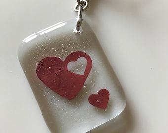 Fused Glass  Heart Keyring  Keyfob KeyChain Charm Valentine Gift