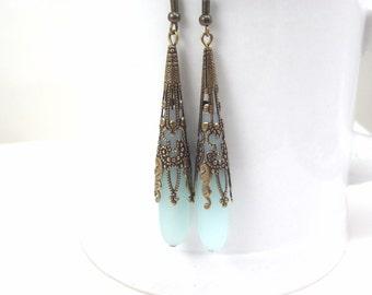 Long blue earrings sea glass ear rings beach glass jewelry  earrings-bridesmaid earrings- teardrop  antique bronze extra long earrings