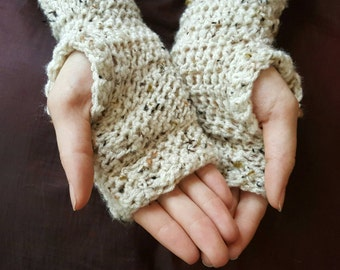 Fingerless Gloves - Crochet Arm Warmers - Simple Texting Mitts