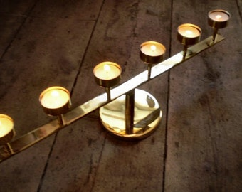 Danish Brass Tea Lite Holder,Sconce,Tea Light Holder,Takes 6 Tea Lites.