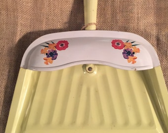 Vintage Metal Dust Pan Yellow w Floral Decor on White Catch all Wall Hanging