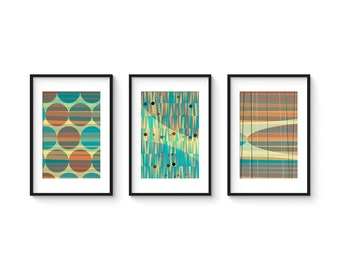 LATTICE SET no.1 - Collection of (3) Giclee Prints - Abstract Geometric Mid Century Modern Style