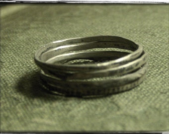 Randomness -  Minimalist Rustic Set Of 4 Sterling Silver Stacking thin Skinny Rings Any Size Made To Order Midi Rings