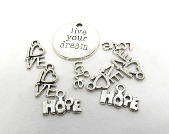 1 Set Live Your Dream Love & Hope Charms (B525L)