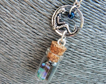Mermaid Necklace, Mermaid Tears In A Bottle Necklace, Abalone Necklace, Paua Necklace, Cosplay Necklace, Boho, Hippie, Costume, Siren