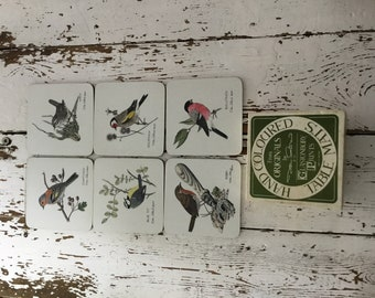 Hand coloured from originals John Morland 1977 Glastonbury prints rare Set of Dinner Table drink coaster mats Birds  song