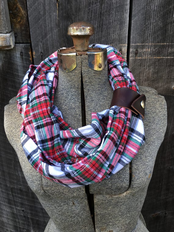 Red and White and green plaid flannel eternity scarf with a brown leather cuff - soft, trendy