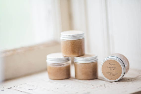 Coconut & Brown Sugar Scrub 2oz -  Set of 24 Favors-  Personalized gift, weddings, baby showers, bridal gift, client gift, stocking stuffer