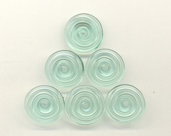 16, 17, 18mm range, Tom's lampwork transparent siren green 2 disc beads, spacers, clasps, drops set 95554-1C