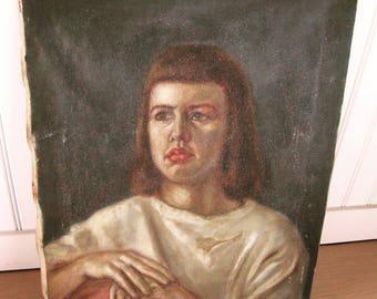 Mid Century Oil Portrait Female Modernist 1950s