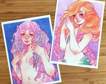 Mermaid Sisters Art Prints