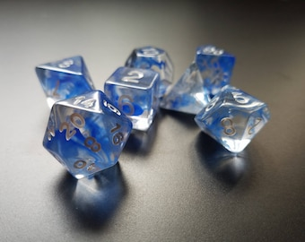 DND Dice set- Blue Vapor - Role playing dice dnd Dice rpg d&d dice d20 RPG Role Playing Games polyhedral Dice Envy