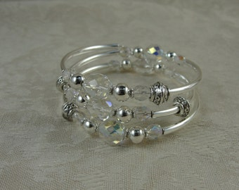 Crystal and Silver Wrap Bracelet, Free Shipping