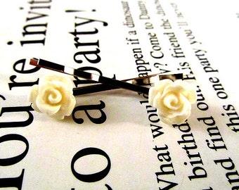 Cute mini pastel cream rose hair bobby pin