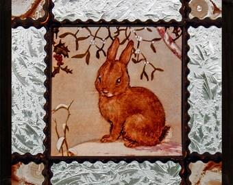 Rabbit suncatcher, Rabbit stained glass, kilnfired stained glass, rabbit, rabbit glasspainting, lapin vitrail, trušu vitrāža, ウサギのステンドグラス