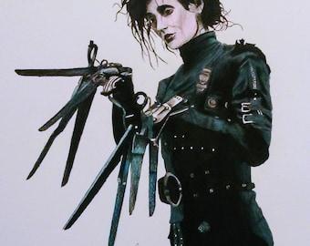 Edward Scissorhands PRINT, Colored Pencil, Illustration, Johnny Depp, Halloween, Wall Print, Home Decor