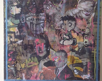 BEER AND LOATHING mixed media collage art peanuts schulz las vegas painting pbr outsider graffiti street art on wood