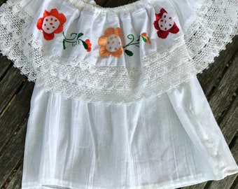Girls Peasant Blouse, Mexican Peasant Blouse