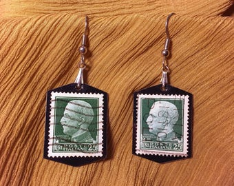 Handmade vintage Italian postage stamp earrings