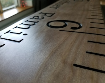 wooden growth chart ruler, personalized growth chart, engraved ruler, rustic growth chart, custom family gift